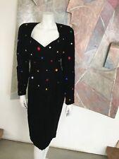 VINTAGE 1980s 80s Black Sequined Prom Velvet Sequined Chetta B Dress SZ 8