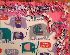 Handmade Warm Fleece Tie-Blanket Reversible Boho Elephants Girl 58X72 -2 Layers