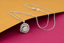 1.00 CT Round Cut D/VVS1 Diamond Swirl Pendant Necklace 14k White Gold Over
