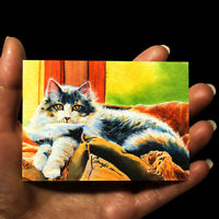 original miniature animals painting ACEO art picture watercolor drawing cat