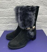 STUART WEITZMAN BLACK SPORT SUEDE & FUR TRIM SHEEPSKIN LINED BOOTS BNIB 37 UK 4