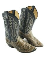 PANHANDLE SLIM Black All Leather Snakeskin Cowboy Western Boots Mens Size 12 D