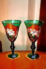 Special Section Stunning Vintage Hofbauer Bohemian Ruby Clear Crystal 4x Glasses And Decanter Art Glass Glass