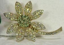 "VTG WEISS ""SPARKLING"" MINT GREEN PAVE' GOLDEN AB RS LONG-STEM FLOWER BROOCH PIN"
