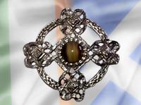 Scots Irish Silvertone Celtic Cross & Knots Banded Agate Brooch