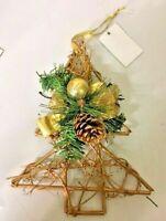 Decorazione natalizia rattan palline pigna oro glitter Alberello Albero Natale