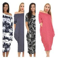 Ladies Off Shoulder side pocket Baggy Women's Short Sleeve Lagenlook Midi Dress
