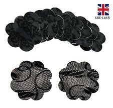 5 Pairs BLACK ADHESIVE NIPPLE COVERS Flower Shaped Modesty Pads Bra Less UK