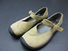 KEEN SIZE 8.5 WOMENS TAN LEATHER SLIP-ON CASUAL WALKING MARY-JANE SHOES 3B