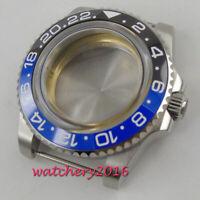 40mm black & Blue ceramic bezel glass watch case fit ETA 2824 2836 movement