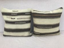 20'' X 20'' African Mudcloth Kilim Pillow Cover, Set of Two Mud Cloth Cushions
