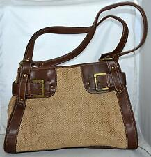 Apostrophe Tan Jute & Rayon Shoulder Bag with Brown Faux Leather