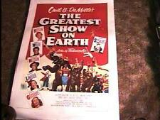 GREATEST SHOW ON EARTH MOVIE POSTER CECIL B DEMILLE '52