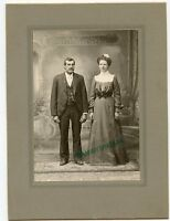 """Antique Matted Photo - MEYER Family - Fred & Mary - All Dressed Up - 8"""" x 6"""""""