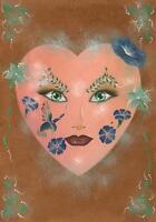 ART NOUVEAU FLOWER MASK FLORIST THEOREM BOTANICAL GARDEN SPIRITUAL EYES PAINTING