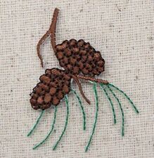 Iron On Embroidered Applique Patch Pine Cones Needles Tree Branch Nature Woods