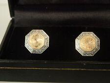 Vintage Art Deco Platinum 14k Double Sided Guilloche Engraved Cufflinks