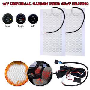 Car Carbon Fiber Heated Seat Heater Kit Cushion Round Switch Set Universal 12V