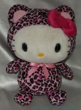 "2009 SANRIO NAKAJIMA Plush HELLO KITTY 9"" w/BRIGHT PINK LEOPARD KITTY CAT Outfit"