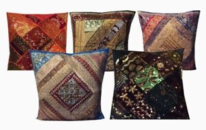 """SET OF 5 - HEAVILY 24"""" SARI BEAD SEQUIN THROW FLOOR ACCENT CUSHION PILLOW COVERS"""