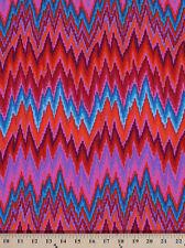 Cotton Kaffe Fassett Flame Stripe Zig Zag Red Cotton Fabric Print D405.03