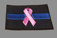 BREAST CANCER PINK RIBBON BLUE LINE EMBROIDERED 3 inch  PATCH