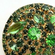 VTG Brooch WEISS Green Prong Set Faceted Rhinestones Pin Green SIGNED Statement