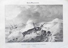 Litografía siglo XIX - Vista de las Dunas - Océano - landas - Aumont - Philippe