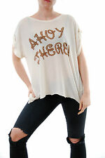 Wildfox Women's Couture Ahoy There Tee Crew Neck Short Sleeve Lace Size S BCF510