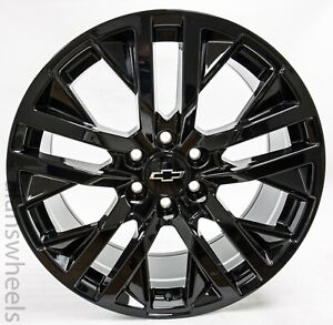 "4 NEW Chevy Silverado Avalanche Tahoe Gloss Black 22"" Wheels Rims 5903"