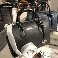 Michael Kors Medium Large Leather Crossbody Satchel Handbag Bag Purse Black Blue