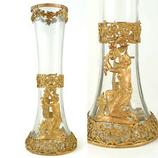 Antique French Napoleon III Empire Gilt Bronze Glass Ormolu Vase Neoclassical