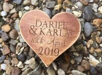 Wood Ring Box Personalised Heart Box, Wedding 6cm Ring Holder Handmade
