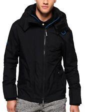 Superdry Mens Tech Popzip Hooded Wind Cheater Multi Zip Up Jacket Coat Black