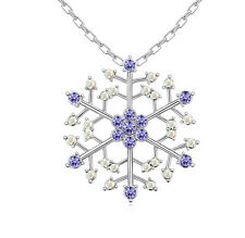 18K Gold GP Made With SWAROVSKI ELEMENTS CRYSTAL PURPLE Snow Flake Necklace