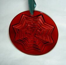 LALIQUE 2003 Noel Astre Star Snowflake Red Crystal Christmas Ornament New in Box