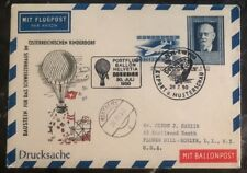 1950 Dornbin Austria Ballon Flight Cover FFC to Flower Hill  NY USA
