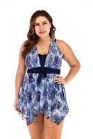 Womens Plus Size Swimsuit Swim Dress Costume Skirted Swimwear Beachwear UK 10-22