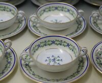 ANTIQUE LIMOGES EGGSHELL PORCELAIN SET OF 12 BOUILLON CREAM SOUP CUPS  SAUCERS