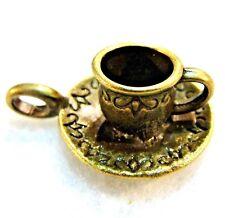 25Pcs WHOLESALE Tibetan Antique Bronze 3D TEA CUP w Saucer Charms Pendants Q1077