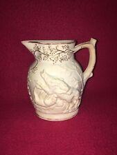Staffordshire English Porcelain Hunt Pitcher Dogs Deer Ca. 1840 Gilt