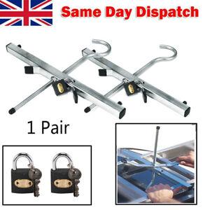 Universal Roof Rack Ladder Clamps Secure Lockable Pair Ladders W/ Free 2 Locks