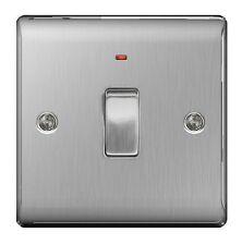 Bg nexus en métal NBS31-en acier inoxydable 20A 20 amp dp interrupteur + neon brossé satin