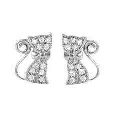 Sterling Silver Bow Kitty Cat Earrings Post CZ pave Stud Kitten Earrings (E-25)