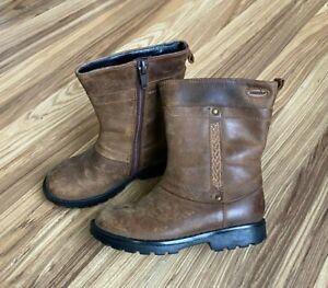 Clarks Worn Look Brown Gore-Tex Side Zip Boots Toddler Girls Sz 7 M