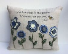 Pillow Kit Embroidery Penny Rug Organic 100% Flax Linen, Wool Felt In The Garden