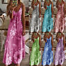 Womens Floral Swing Ladies Fitted Strappy Sundress Maxi CAMI Long Slip Sun Dress