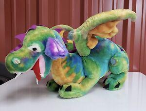 "MELISSA & DOUG HUGE JUMBO Winged Dragon Plush 40""X 18"" Stuffed Magic Rainbow"
