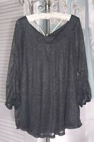 New Plus Size 1X Gray Blouse Silver Glitter Top Sparkle Shirt