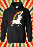 Unicorn Middle Finger Funny Novelty Men Women Unisex Top Hoodie Sweatshirt 1224